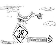 Baby on Bird editorial cartoon Photographic Print