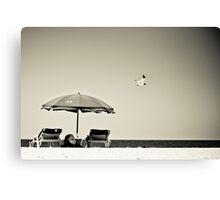 Umbrella. Seagull. Greyscale Canvas Print