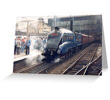 Mallard arriving at Carlisle - Steam Trains Greeting Card