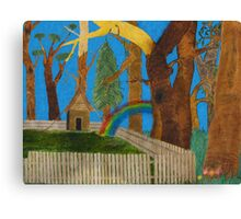 a rainbow jumping over the fence. Canvas Print