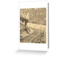 Railway Tracks and telegraph poles Greeting Card