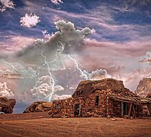 Southwest  Rock House and Lightning Strikes HDR by Bo Insogna