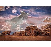 Southwest  Rock House and Lightning Strikes HDR Photographic Print