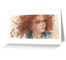 a face study in watercolour Greeting Card