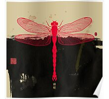 Big Dragonfly In Red And Black Poster