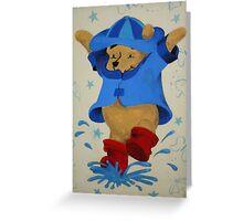Splashing Winnie The Pooh Greeting Card