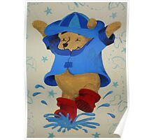Splashing Winnie The Pooh Poster