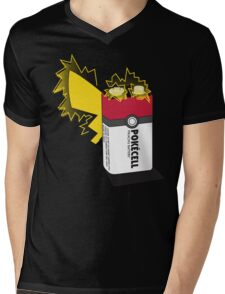 Pokecell Pikachu Battery Mens V-Neck T-Shirt