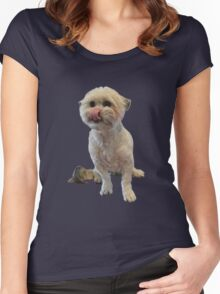 Cute licking puppy. Women's Fitted Scoop T-Shirt
