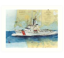 USCGC Alert Nautical Chart Map Cathy Peek  Art Print
