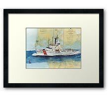 USCGC Alert Nautical Chart Map Cathy Peek  Framed Print