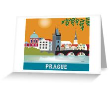 Prague, Czech Republic - Skyline Illustration by Loose Petals Greeting Card