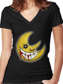 Soul Eater Moon  Women's Fitted V-Neck T-Shirt
