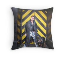 bad boy with bad dog! Throw Pillow