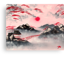 Pink and Red Mountains Canvas Print