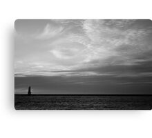 Ludintgon, Michigan Light Station in Black and White Canvas Print