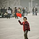 Young child on tian'anmen place by Denis Charbonnier