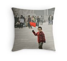 Young child on tian'anmen place Throw Pillow