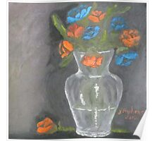 Roses...Orange and Blue Poster