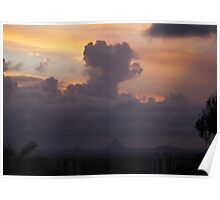 Glass House Mountains at Sunset Poster