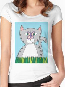 Tabby Cat and Butterfly Women's Fitted Scoop T-Shirt