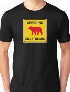 Speeding Kills Bears, Road Sign, California, USA Unisex T-Shirt