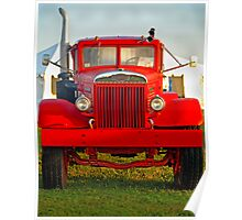 Old Big Red Truck Poster