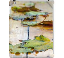 Selective focus on autumn maple leaves with shallow depth of field iPad Case/Skin