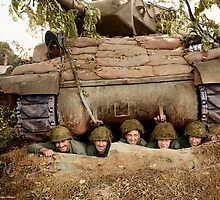 Crew of an ACS M10 (Wolverine) self-propelled gun, 703rd Tank Destroyer Battalion of the 3rd Armored Division, pose in a pit near the French town of Marigny. by Marina Amaral
