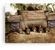 Crew of an ACS M10 (Wolverine) self-propelled gun, 703rd Tank Destroyer Battalion of the 3rd Armored Division, pose in a pit near the French town of Marigny. Canvas Print