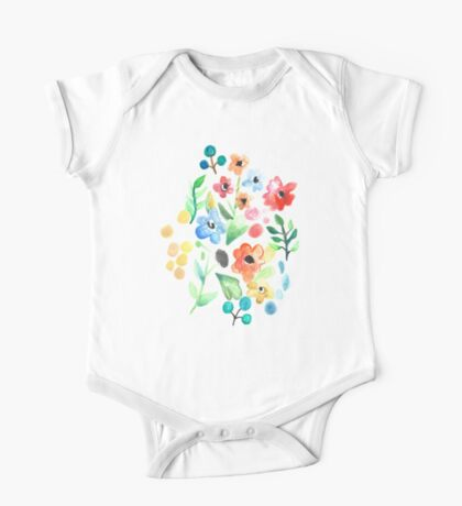Flourish - Watercolor Floral One Piece - Short Sleeve