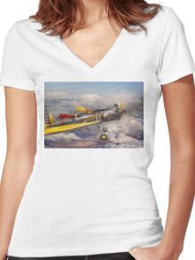 Flying Pig - Plane -The joy ride Women's Fitted V-Neck T-Shirt