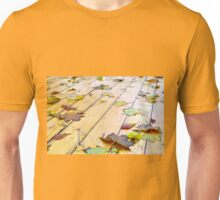 Close-up view on a wet green and yellow leaves of maple Unisex T-Shirt