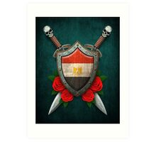 Egyptian Flag on a Worn Shield and Crossed Swords Art Print