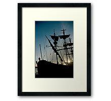 Morning in the harbour Framed Print