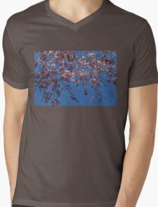 Pretty in Pink - a Flowering Cherry Tree and Blue Spring Sky Mens V-Neck T-Shirt