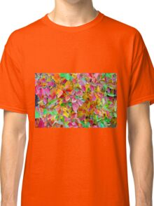 Background of vivid red and green autumn leaves Classic T-Shirt