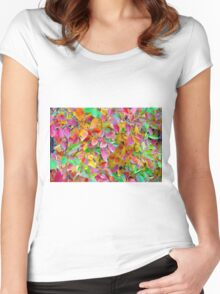 Background of vivid red and green autumn leaves Women's Fitted Scoop T-Shirt