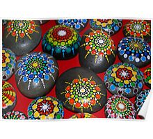 Group of Mandala painted stones Poster