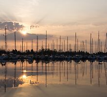 Heavenly Sunrays - Peaches-and-Cream Sunrise with Yachts by Georgia Mizuleva