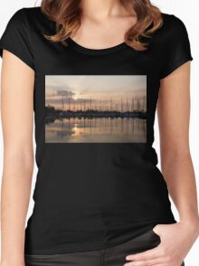 Heavenly Sunrays - Peaches-and-Cream Sunrise with Yachts Women's Fitted Scoop T-Shirt