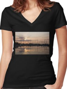 Heavenly Sunrays - Peaches-and-Cream Sunrise with Yachts Women's Fitted V-Neck T-Shirt