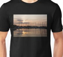 Heavenly Sunrays - Peaches-and-Cream Sunrise with Yachts Unisex T-Shirt