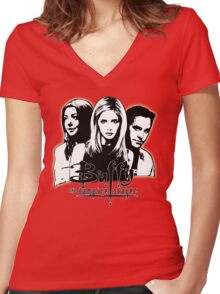 A Trio of Scoobies (Willow, Buffy & Xander) Women's Fitted V-Neck T-Shirt