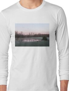 Pink Pond - A Peaceful Daybreak On The Farm Long Sleeve T-Shirt