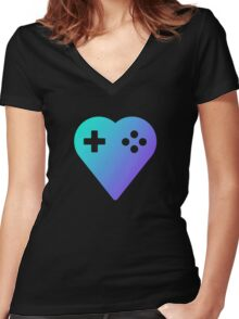 Blue We Love Gaming Heart Women's Fitted V-Neck T-Shirt