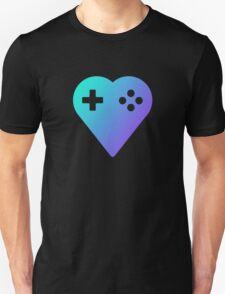Blue We Love Gaming Heart Unisex T-Shirt