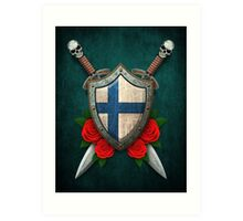 Finnish Flag on a Worn Shield and Crossed Swords Art Print