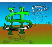 Options binaires en caricature - chômage mieux que l'inquiétude sur la dette grecque Photographic Print
