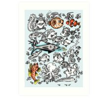 Cartoon Fishies  Art Print